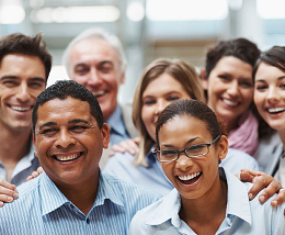 Diverse group of employees smiling
